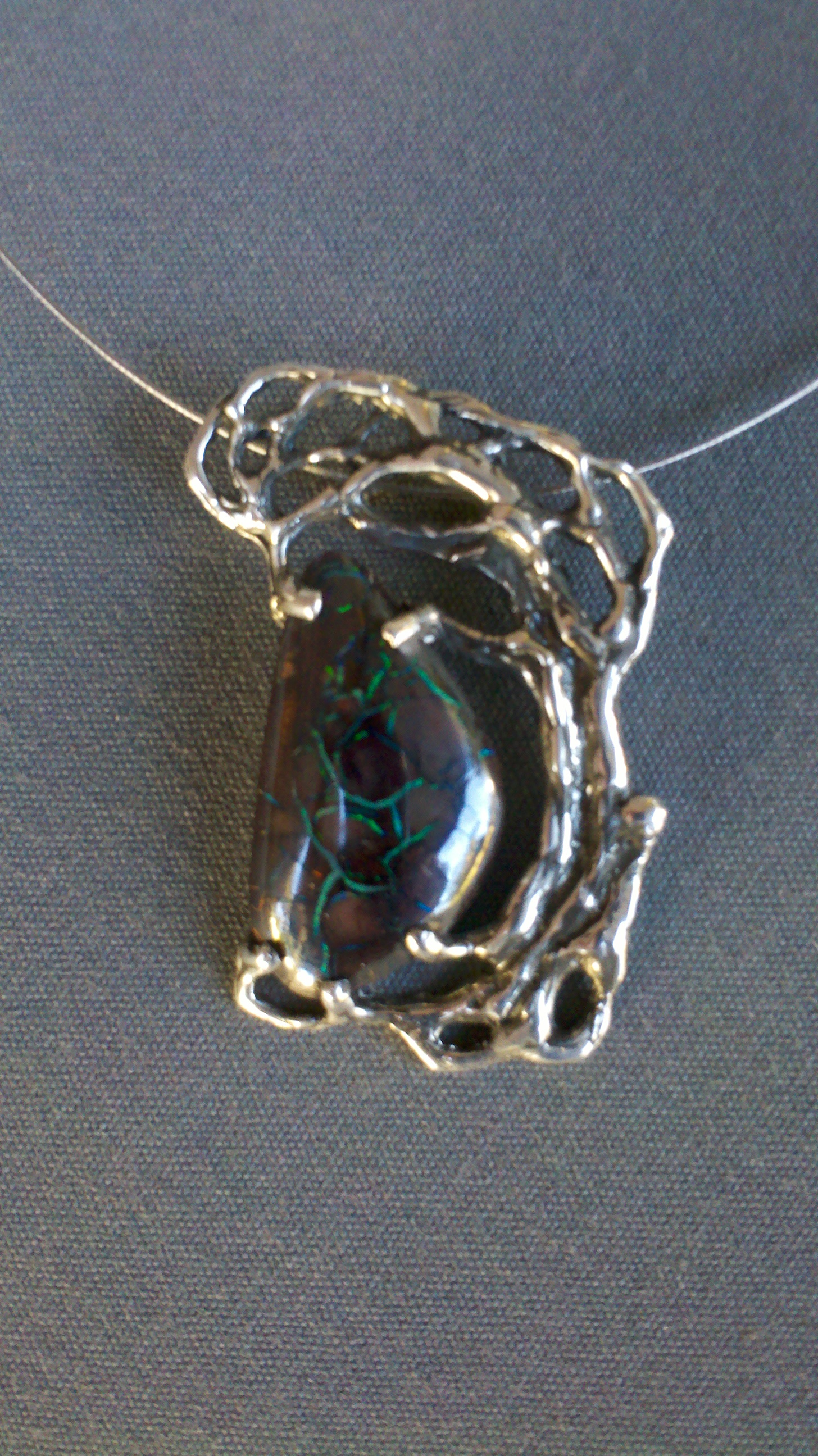 Solid Natural Boulder Opal, Sterling Silver Pendant on Wire