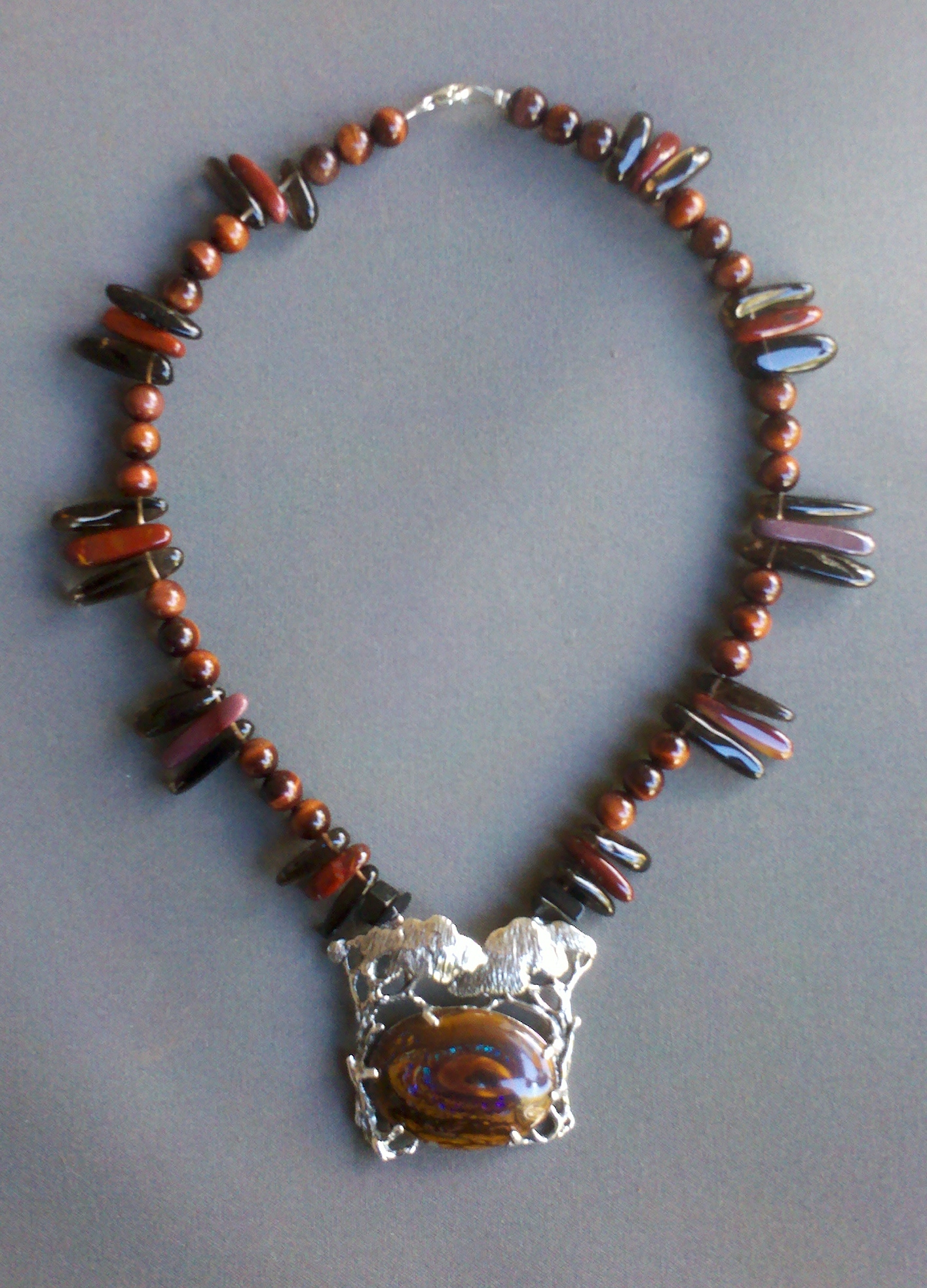 Boulder Opal set in Sterling Silver with Mookaite, Smokey Quartz and Red Tiger Eye Beads