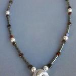 Tribrachidium Necklet - Sterling Silver, Garnet and Haematite Beads