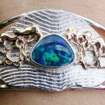 Bespoke Sterling Silver, 9 Carat Gold and Solid Opal Cuff Bracelet