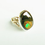 Boulder Opal, 925 Silver, 375 Yellow Gold