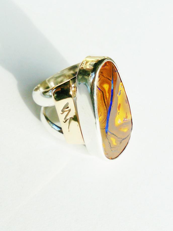 Boulder Opal, 925 Silver, 375 Rose Gold